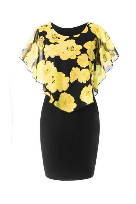 Women Bodycon Pencil Dress Summer Plus Size Cloak Sleeve Rose Printed Mini Club Party Dress yellow