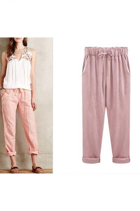 Plus Size Women Harem Pants Drawstring High Waist Pockets Casual Loose Trousers pink