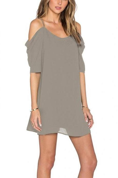 Women Chiffon Casual Dress Summer Off Shoulder Short Sleeve Mini Party Dress gray