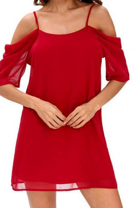 Women Chiffon Casual Dress Summer Off Shoulder Short Sleeve Mini Party Dress red