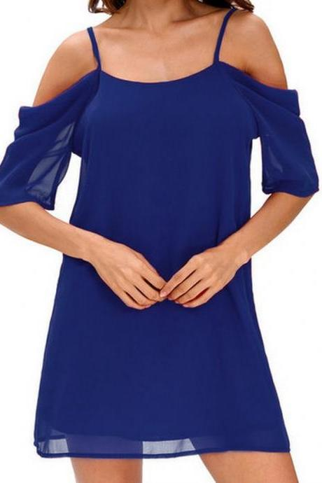 Women Chiffon Casual Dress Summer Off Shoulder Short Sleeve Mini Party Dress royal blue