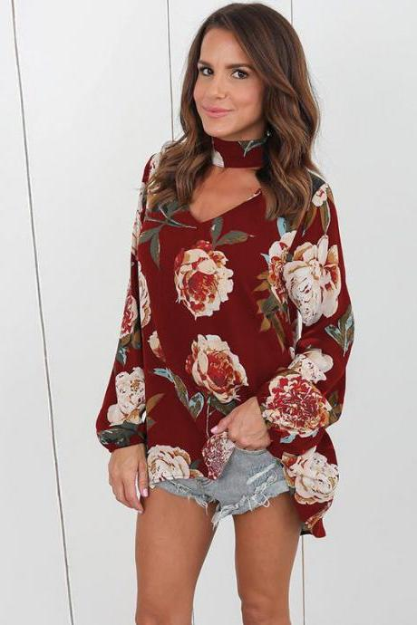 Women Floral Print T-Shirt Sexy V Neck Long Sleeve Halter Loose Tee Tops Blouses burgundy