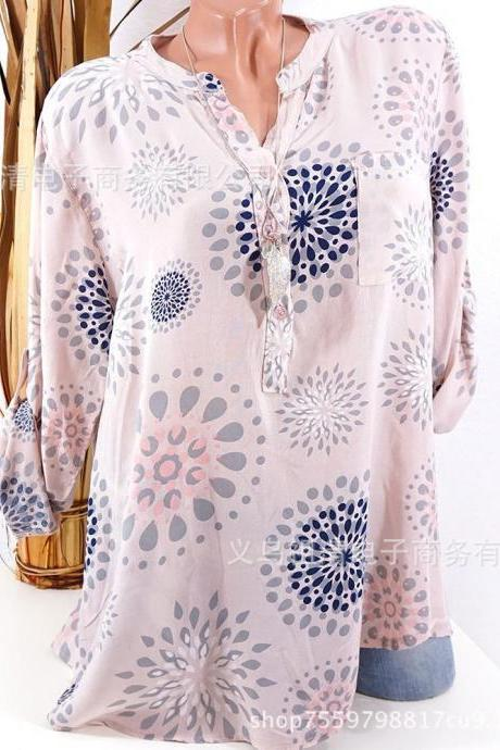 Plus Size Women Blouse V Neck Long Sleeve Button Printed Casual Tops Loose Shirt pink