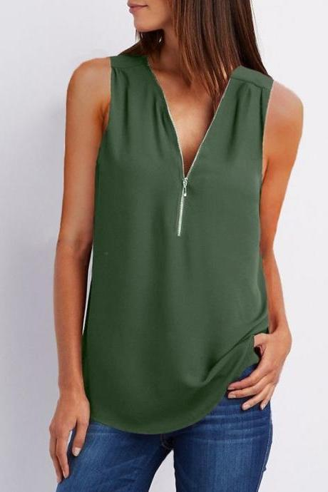 Sexy V Neck Chiffon Sleeveless Shirt Zipper Plus Size Blouse Loose Casual Top Vest army green