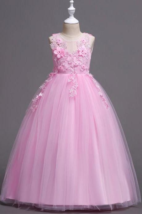 Long Lace Flower Girl Dress Teens Wedding Formal Party Gowns Children Clothes pink