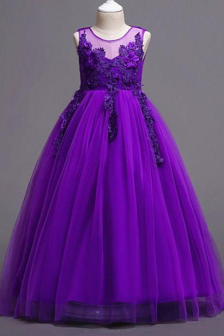 Long Lace Flower Girl Dress Teens Wedding Formal Party Gowns Children Clothes purple