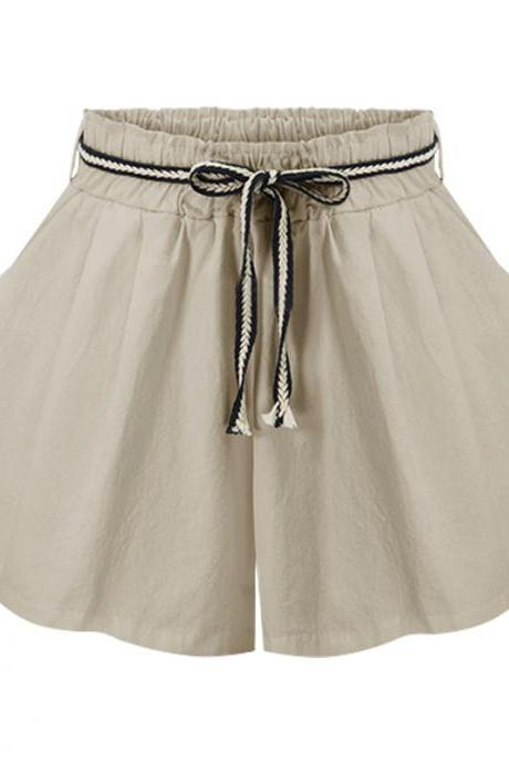Women Wide Leg Shorts High Waist Belted Beach Summer Streetwear Loose Casual Shorts khaki