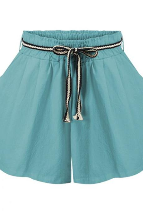 Women Wide Leg Shorts High Waist Belted Beach Summer Streetwear Loose Casual Shorts sky blue