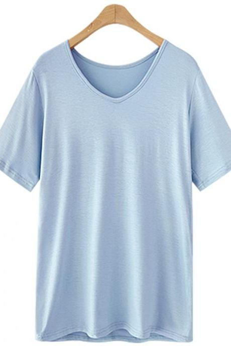 Women V Neck T Shirt Summer Short Sleeve Plus Size Casual Basic Tee Tops baby blue