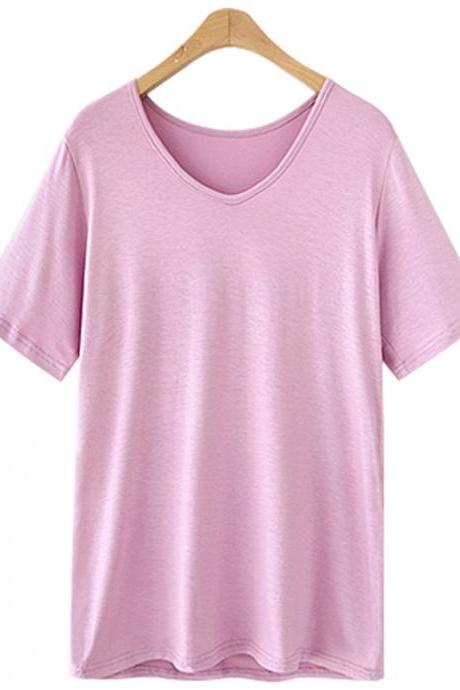 Women V Neck T Shirt Summer Short Sleeve Plus Size Casual Basic Tee Tops pink