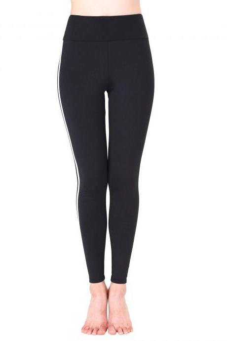Women Yoga Striped Patchwork Leggings Slim High Waist Sports Fitness Gym Running Pants black