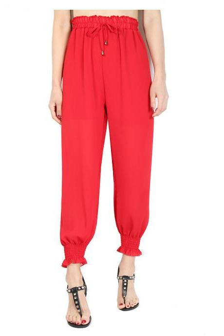 Women Chiffon Harem Pants Drawstring OL High Waist Casual Summer Loose Trousers red