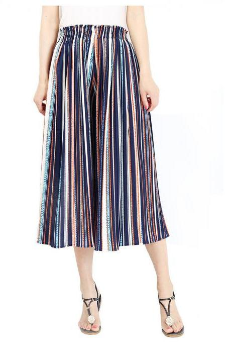 Women Striped Wide Leg Pants Loose High Waist Summer Beach Casual Pleated Trousers blue