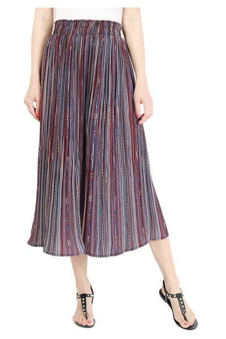Women Striped Wide Leg Pants Loose High Waist Summer Beach Casual Pleated Trousers purple