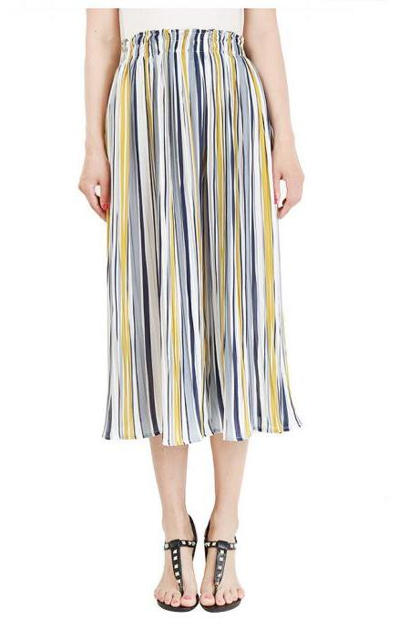 Women Striped Wide Leg Pants Loose High Waist Summer Beach Casual Pleated Trousers yellow+blue