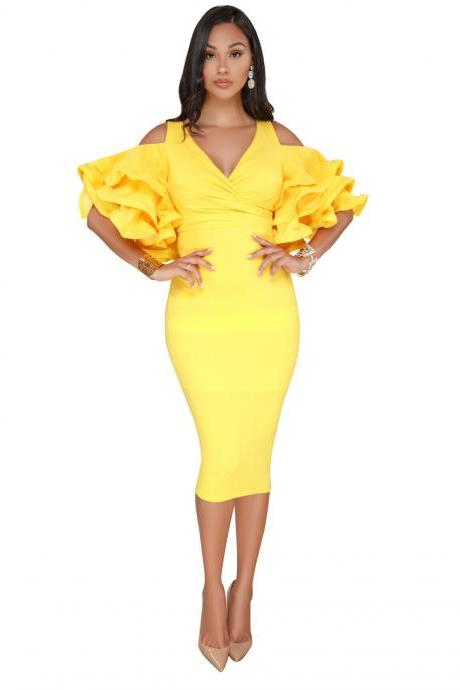Sexy Bodycon Party Dress V Neck Ruffles Sleeve Split Off The Shoulder Slim Women Pencil Dress yellow