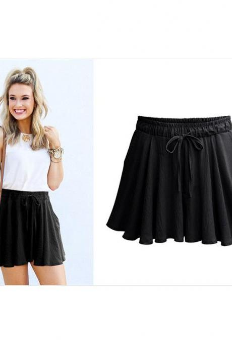Summer Women Wide Leg Shorts Plus Size Casual Drawstring High Waist Loose Short Pants black