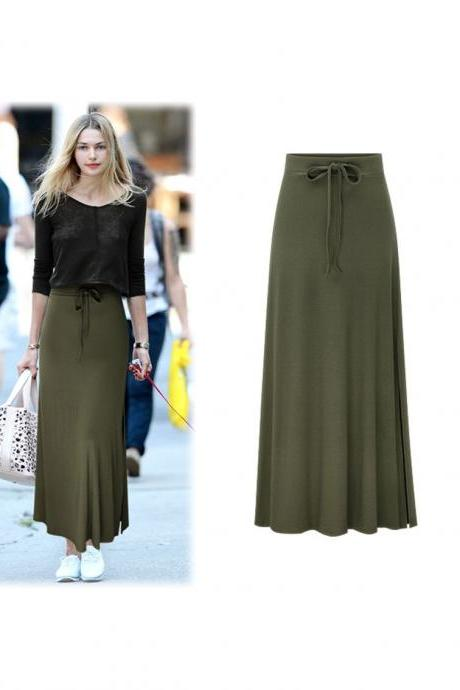 Plus Size Women Maxi Skirt Drawstring High Waist Side-Split Slim Fit Casual Long Skirt army green