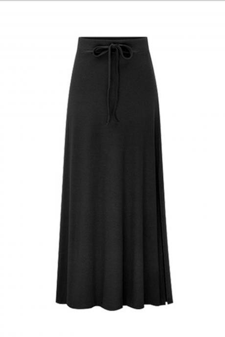 Plus Size Women Maxi Skirt Drawstring High Waist Side-Split Slim Fit Casual Long Skirt black