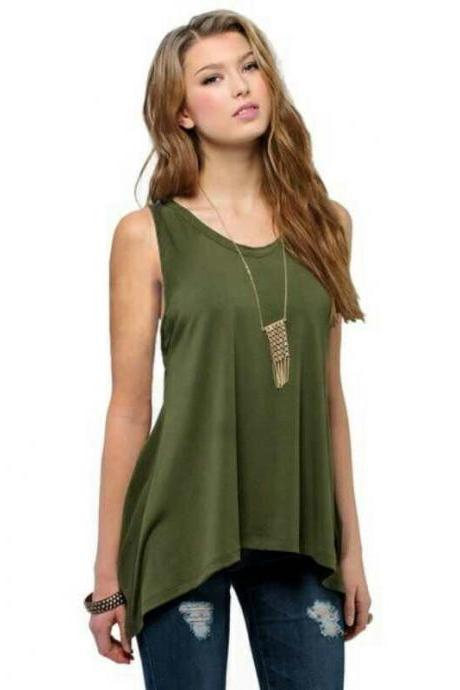 Plus Size Women Asymmetrical Tops Summer Vest Casual Loose Sleeveless T Shirt army green