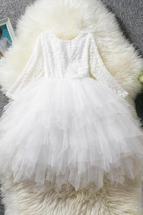 Lace Flower Girl Dress Long Sleeve Kid Birthday Party Wedding Tutu Gown Children Clothes off white