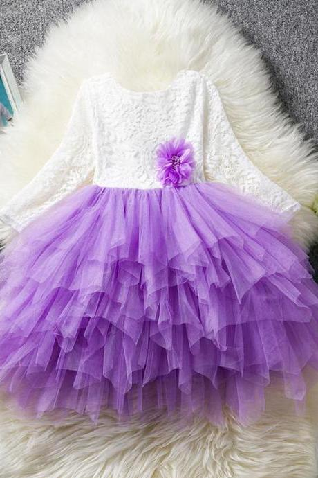 Lace Flower Girl Dress Long Sleeve Kid Birthday Party Wedding Tutu Gown Children Clothes purple