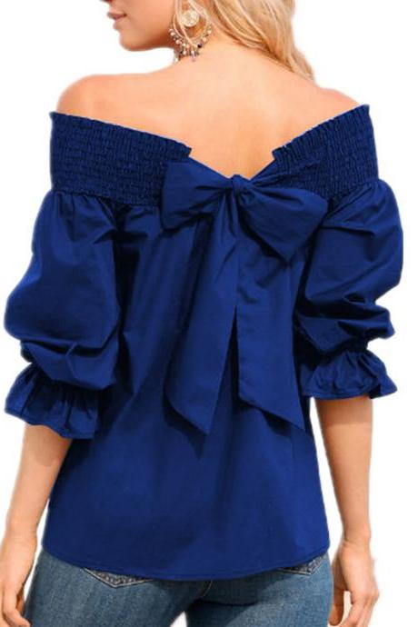 Royal Blue Off-The-Shoulder Top Blouse with 3/4 Puffed Sleeves and Back Bow