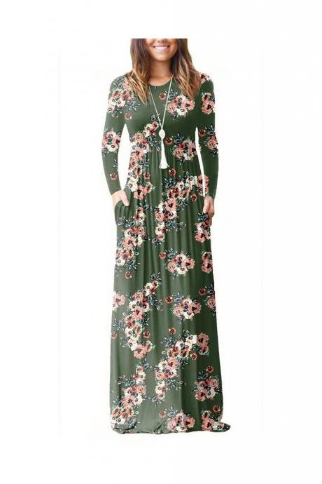 Women Floral Print Maxi Dress Long Sleeve Pockets Beach Boho Long Casual Party Dress army green