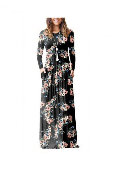 Women Floral Print Maxi Dress Long Sleeve Pockets Beach Boho Long Casual Party Dress black