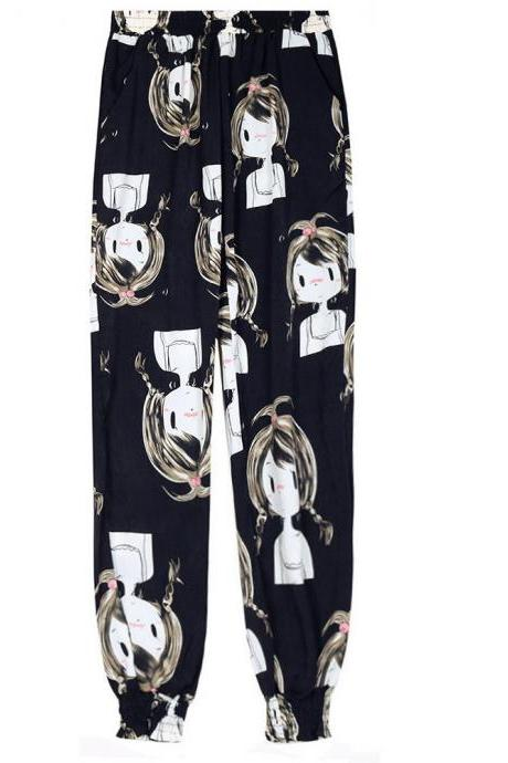 Women Harem Pants Summer Beach Elastic Waist Drawstring Loose Floral Printed Trousers15#