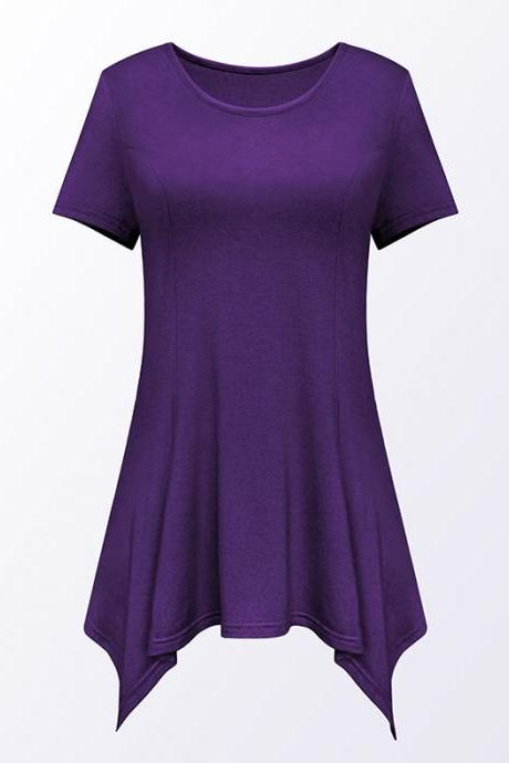 Women Asymmetric T-Shirt O Neck Short Sleeve Solid Loose Casual Tee Tops purple