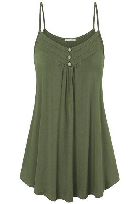 Plus Size Women Tank Tops Summer Casual Spaghetti Strap Button Vest Sleeveless T Shirt army green