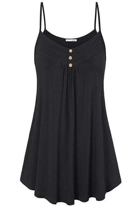 Plus Size Women Tank Tops Summer Casual Spaghetti Strap Button Vest Sleeveless T Shirt black