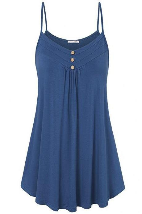 Plus Size Women Tank Tops Summer Casual Spaghetti Strap Button Vest Sleeveless T Shirt dark blue