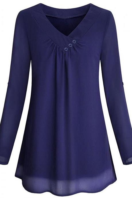 Women Chiffon Loose Blouse V Neck 3/4 Sleeve Button Casual Tops Shirt navy blue