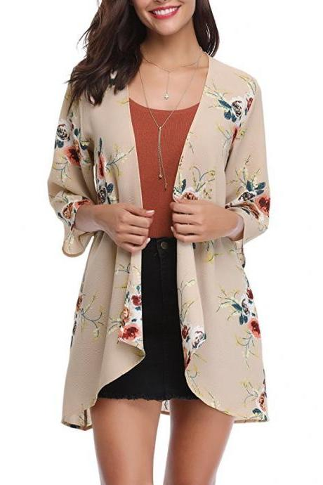 Women Casual Kimono Cardigan Half Sleeve Summer Chiffon Loose Floral Printed Coat Jacket khaki