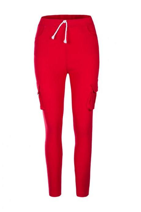 Women Pencil Pants Drawstring High Waist Pockest Skinny Slim Casual Long Trousers red