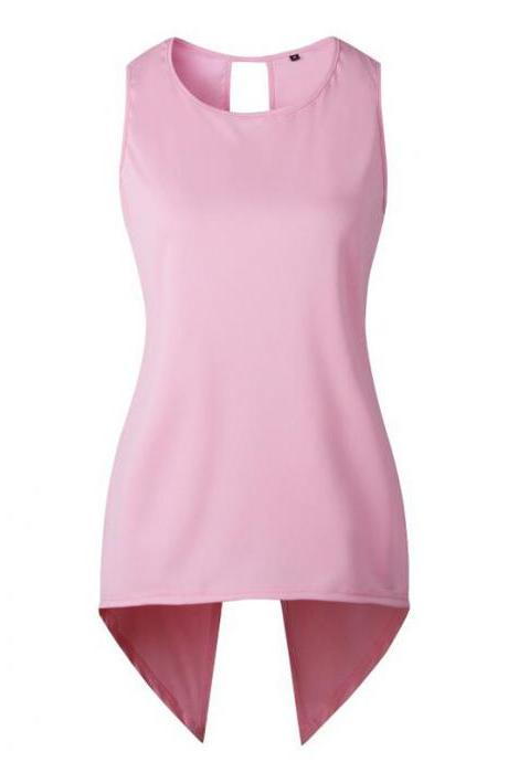 Women Sleeveless T Shirt Asymmetrical Hem Summer Casual Vest Slim Long Tee Tops pink