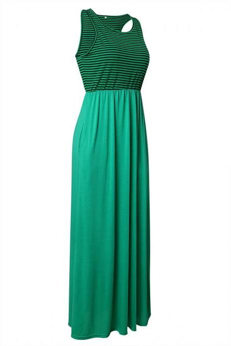 Women Boho Maxi Dress Sleeveless Summer Beach Striped Patchwok Long Sundress green