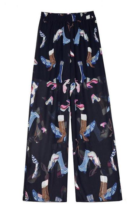 Women Chiffon Loose Casual Pants High Waist Summer Side Split Floral Printed Wide Leg Trousers 9#