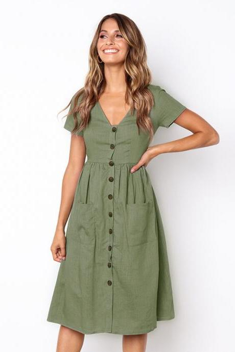 Women Casual Dress Short Sleeve V Neck Button Pockets Summer A Line Party Dress green