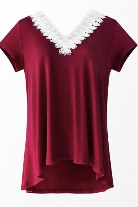Women Summer T Shirt V Neck Short Sleeve Slim Lace Patchwork Casual Tee Tops burgundy