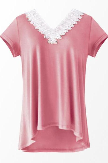 Women Summer T Shirt V Neck Short Sleeve Slim Lace Patchwork Casual Tee Tops pink