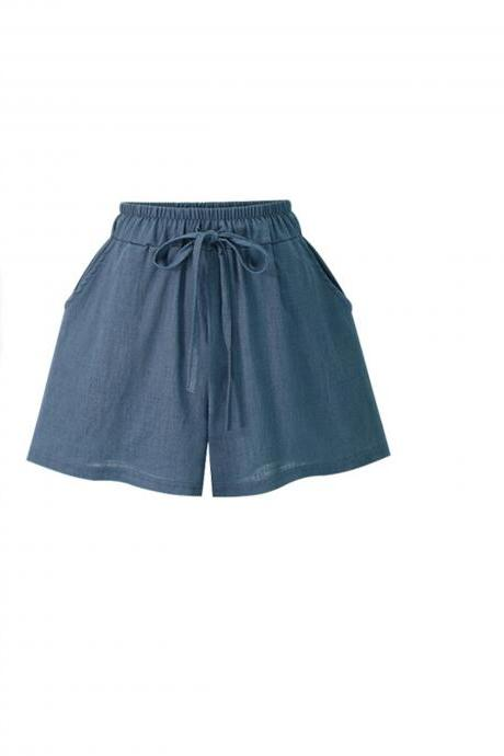 Blue Elasticised Drawstring High Waisted Shorts