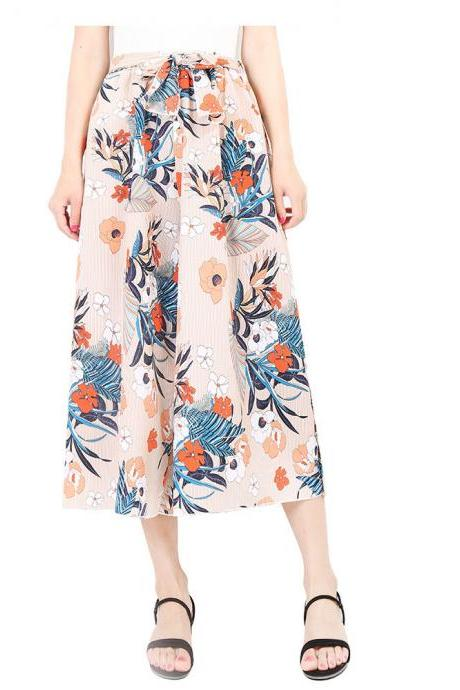 Women Floral Print Wide Leg Pants Boho Summer Beach High Waist Loose Casual Trousers apricot