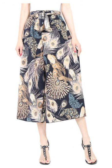 Women Floral Print Wide Leg Pants Boho Summer Beach High Waist Loose Casual Trousers blue feather