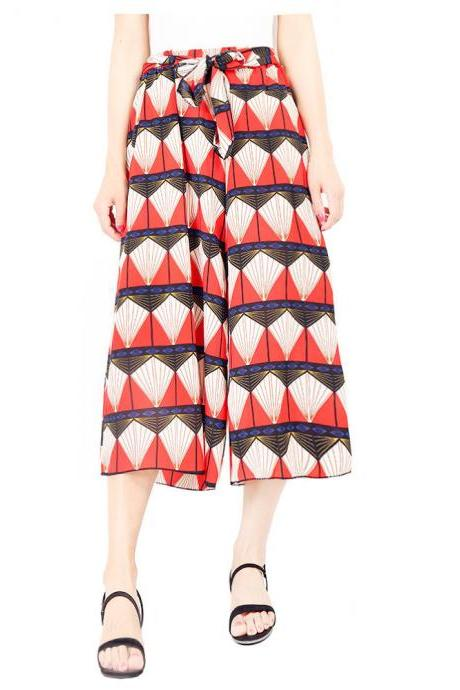 Women Floral Print Wide Leg Pants Boho Summer Beach High Waist Loose Casual Trousers red