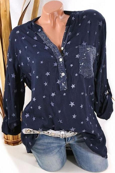 Women Star Printed Blouse Long Sleeve Sexy V Neck Loose Casual Plus Size Top Shirt navy blue