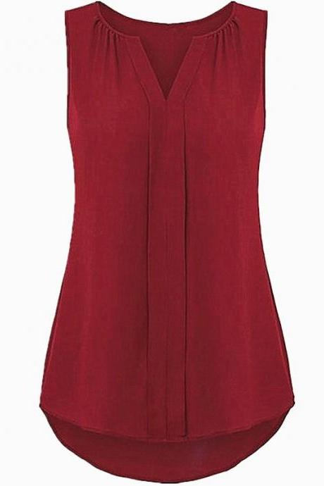 Women Chiffon Sleevless Blouse Summer V Neck Tank Tops Plus Size Loose T Shirt crimson