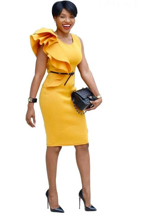 Women Pencil Dress Ruffles Summer Sleeveless Slim Bodycon Work Club Party Dress yellow
